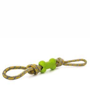 Bavlněné přetahovadlo s TPR zelenou kostí, odolná (gumová) hračka z termoplastické pryže