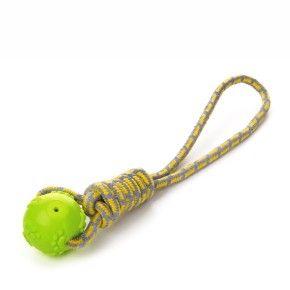 Bavlněné přetahovadlo s TPR zeleným míčem, odolná (gumová) hračka z termoplastické pryže