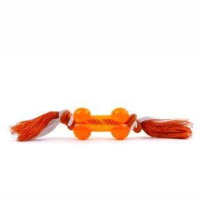 Bavlněný uzel s kostí - oranžový, odolná (gumová) hračka z termoplastické pryže