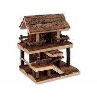 Domek SMALL ANIMAL Dvoupatrový dřevěný s kůrou 17 x 15 x 20 cm (1ks)