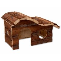 Domek SMALL ANIMAL Kaskada dřevěný s kůrou 26,5 x 16 x 13,5 cm (1ks)