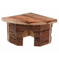 Domek SMALL ANIMAL Rohový dřevěný s kůrou 16 x 16 x 11 cm (1ks)
