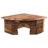 Domek SMALL ANIMAL Rohový dřevěný s kůrou 30 x 30 x 16 cm (1ks)