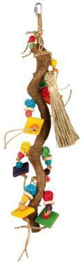 Dřevěná závěsná hračka s proutěnými míčky 56 cm