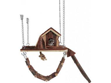 Dřevěné závěsné hřiště s domkem JANNE pro myši,křečky 26 x 22cm