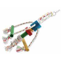Hračka BIRD JEWEL Chobotnička závěsná dřevo - provaz 29 cm (1ks)