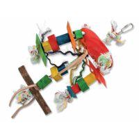 Hračka BIRD JEWEL Tripod závěsná dřevo - provaz 23 cm (1ks)