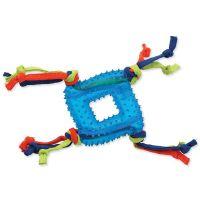 Hračka DOG FANTASY čtverec s provazem gumový modrý 19 cm (1ks)