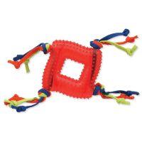 Hračka DOG FANTASY čtverec s provázky gumový červený 20 cm (1ks)