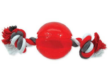 Hračka DOG FANTASY Strong míček gumový s provazem červený 8,2 cm