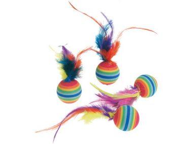 Hračka míček barevný pěna s pérkem
