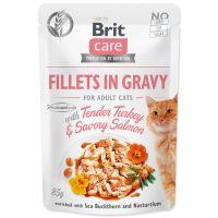 Kapsička BRIT Care Cat Fillets in Gravy with Tender Turkey & Savory Salmon 85g