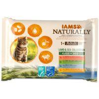 Kapsičky IAMS Cat Naturally výběr z mořských a suchozemských mas v omáčce multipack 340g