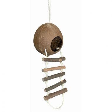 Kokosový domek pro křečky s žebříkem 13 x 56 cm