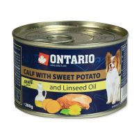 Konzerva ONTARIO mini calf, sweetpotato, dandelion and linseed oil (200g)