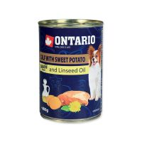 Konzerva ONTARIO mini calf, sweetpotato, dandelion and linseed oil (400g)