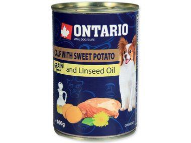 Konzerva ONTARIO mini calf, sweetpotato, dandelion and linseed oil (400g)