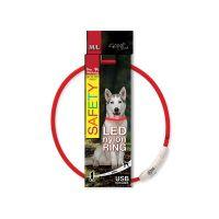 Obojek DOG FANTASY LED nylonový červený M/L (1ks)