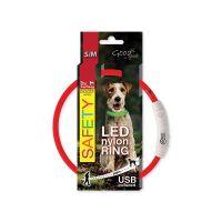 Obojek DOG FANTASY LED nylonový červený S/M (1ks)