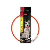 Obojek DOG FANTASY LED nylonový oranžový M/L (1ks)