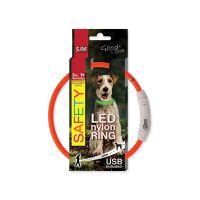 Obojek DOG FANTASY LED nylonový oranžový S/M (1ks)