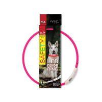 Obojek DOG FANTASY LED nylonový růžový M/L (1ks)
