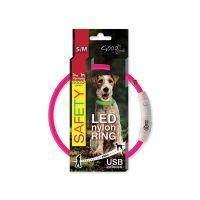 Obojek DOG FANTASY LED nylonový růžový S/M (1ks)