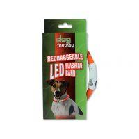 Obojek DOG FANTASY LED světelný oranžový 45 cm (1ks)