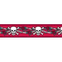 Obojek RD 12 mm x 20-32 cm - Skull & Roses Red