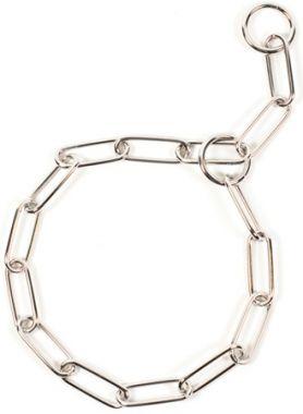 Obojek řetěz stahovací chrom dlouhá oka 55 cm