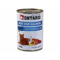 ONTARIO konzerva Beef, Salmon, Sunflower Oil (400g)