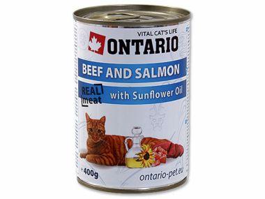 ONTARIO konzerva Beef, Salmon, Sunflower Oil (400g)