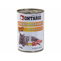 ONTARIO konzerva Chicken, Rabbit, Salmon Oil (400g)