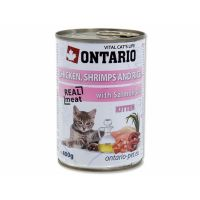 ONTARIO konzerva Kitten Chicken, Shrimp, Rice and Salmon Oil (400g)
