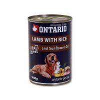 ONTARIO konzerva Lamb, Rice, Sunflower Oil (400g)