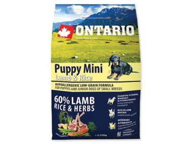 ONTARIO Puppy Mini Lamb & Rice (6,5kg)