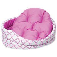 Pelech DOG FANTASY ovál s polštářem ornament růžový 84 cm