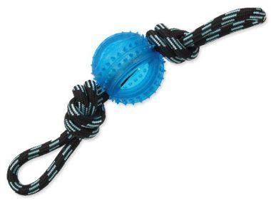 Přetahovadlo DOG FANTASY lano s míčem modré 33 cm (1ks)
