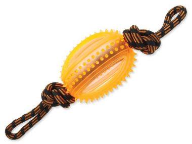 Přetahovadlo DOG FANTASY lano s míčem oranžové 45 cm (1ks)