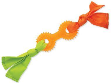 Přetahovadlo DOG FANTASY látkové s činkou oranžové 31 cm (1ks)