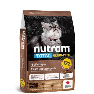 T22 Nutram Total Grain Free Turkey, Chicken & Duck Cat - bezobilné krmivo - krůta, kuře a kachna, pro kočky a koťata 1,13kg