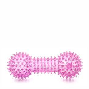 TPR – činka s bodlinami růžová, odolná (gumová) pískací hračka z termoplastické pryže
