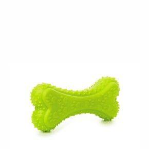 TPR – kost zelená, odolná (gumová) pískací hračka z termoplastické pryže