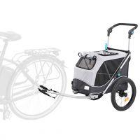 Vozík za kolo s funkcí rychlého skládání S: 40 × 40 × 60 cm, nosnost 15kg, šedý