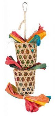 Závěsná hračka košíčky s hnízdícím materiálem pro ptáky 35cm