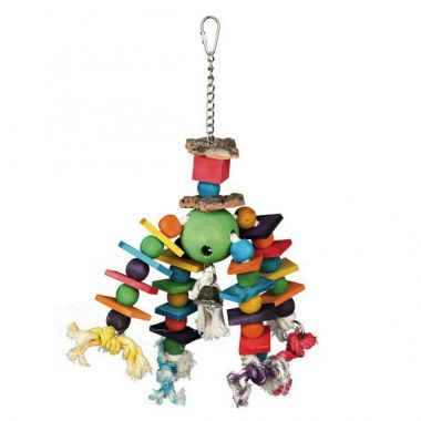 Závěsná hračka s různobar. kostkami a kuličkami na uzlících