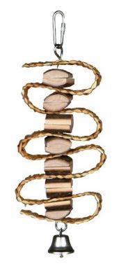 Závěsná hračka z přírodního dřeva a slámy + zvonek 21cm
